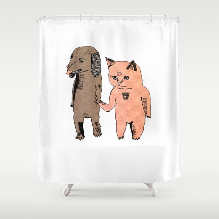 Cat And Dog Shower Curtain