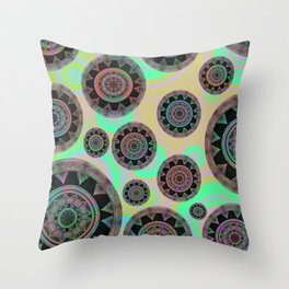 Holographic Floating Mandala Boho Stamp Print Throw Pillow