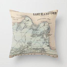 Map of East Hampton 1873 Throw Pillow