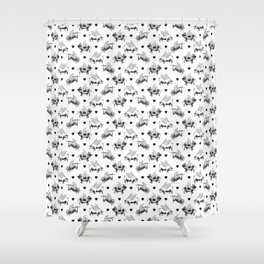 Flying Pigs | Vintage Pigs with Wings | Black and White | Shower Curtain