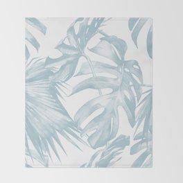Blue Tropical Palm Leaves Print Throw Blanket