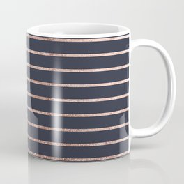 Elegant Chic Rose Gold Stripes and Navy Blue Coffee Mug