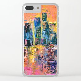 Pink Sky - abstract painting New York city skyline at sunset impressionism acrylic Clear iPhone Case