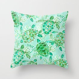 TURTLE FLOAT Watercolor Throw Pillow