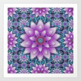 Embroidered purple & green Art Print