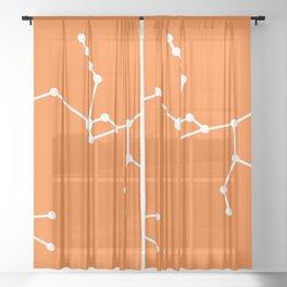Sagittarius (White & Orange) Sheer Curtain