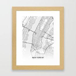 New York NY Map White Framed Art Print
