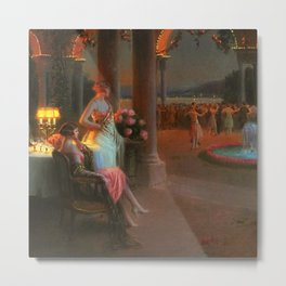 Classical Masterpiece 'Evening on the Terrace' by Delphin Enjolras Metal Print