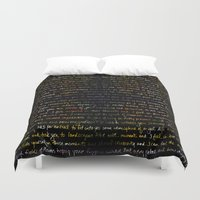 writing Duvet Covers featuring Marigolds + Journal Writing Overlay by 3 Red Threads