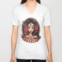 pinup V-neck T-shirts featuring Amazon Pinup by Tim Shumate
