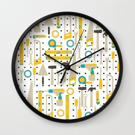 Hardware and Construction Tools in yellow and blue Wall Clock