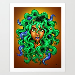 Tentacle Hair Lady- green Art Print