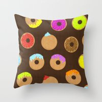donuts Throw Pillows featuring Donuts by Reg Silva / Wedgienet.net