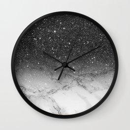Stylish faux black glitter ombre white marble pattern Wall Clock