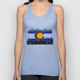 Denver Colorado artistic skyline art Unisex Tank Top