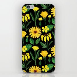Sunshine yellow watercolor hand painted floral daisies iPhone Skin