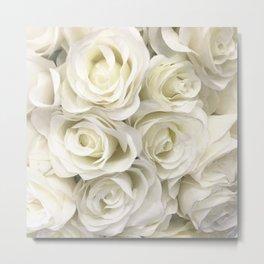 Ivory White Roses Metal Print