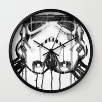 storm trooper Wall Clocks featuring storm trooper by ErDavid