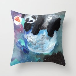 panda in the moon Throw Pillow