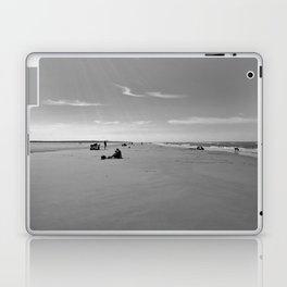 low tide sand beach sunny summer day at ouddorp zeeland netherlands europe black white Laptop & iPad Skin