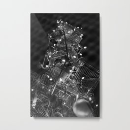 Shopping Cart Christmas Tree in Hollywood - day two b&w Metal Print