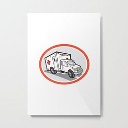 Ambulance Emergency Vehicle Cartoon Metal Print