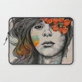 Softly Spoken Agony | flower girl pencil portrait Laptop Sleeve