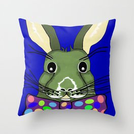 Easter Bunny Blue Throw Pillow