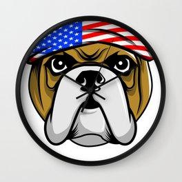 Pawtriotic Dog in American Flag Bandanna Patriotic American Wall Clock