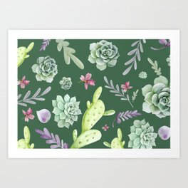 Cactus Watercolor Pattern 10 Art Print