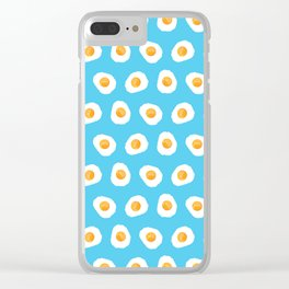 Crazy for fried eggs blue Clear iPhone Case