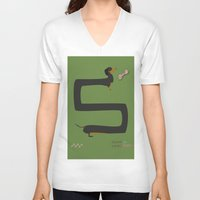 dachshund V-neck T-shirts featuring Dachshund by Yzabelle Wuthrich