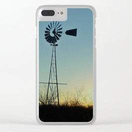 Sunset Glow On Windmill Clear iPhone Case