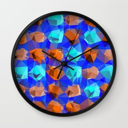 geometric polygon abstract pattern in blue and brown Wall Clock