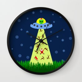 Alien abduction of Santa Claus (sweater) Wall Clock