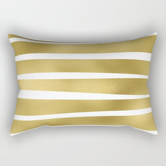 Gold unequal glitter stripes on clear white - horizontal pattern Rectangular Pillow