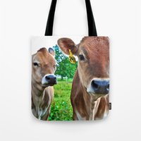 cows Tote Bags featuring Cows by Chris Klemens