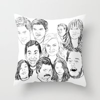 parks and recreation Throw Pillows featuring Parks and Recreation 'Rec a Sketch' by Moremeknow