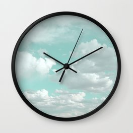 Clouds in a Mint Sky Wall Clock