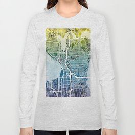 Seattle Washington Street Map Long Sleeve T-shirt