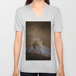 Cute painting amur leopard cub Unisex V-Neck
