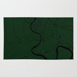 Bangkok Thailand Minimal Street Map - Forest Green and Black Rug