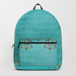 Gold and Turquoise Pattern Backpack