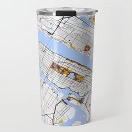 New York City Map United States Mondrian color Travel Mug