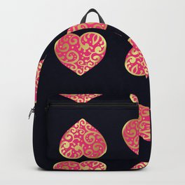 Pink and gold hearth pattern on black Backpack