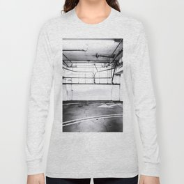 underground parking lot with tube in black and white Long Sleeve T-shirt