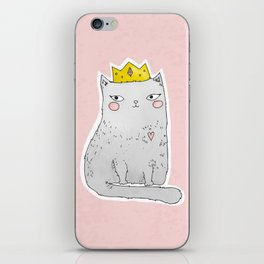 Cute cat with crown pink background iPhone Skin