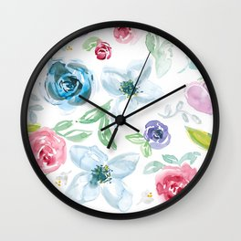 Sweet Soft Watercolor Floral Wall Clock
