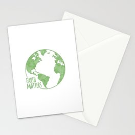 Earth Matters - Earth Day - Grunge Green Outline 01 Stationery Cards