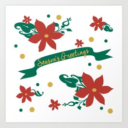 Season's Greetings Floral Pattern 1 Art Print